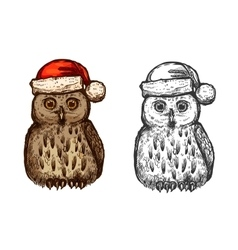 Owl in red christmas hat sketch icon vector image vector image