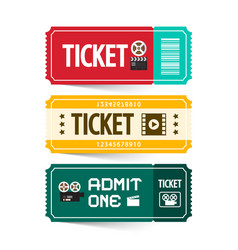 retro paper tickets set isolated on white vector image vector image