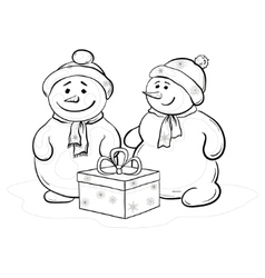 snowmens with gift box contours vector image vector image