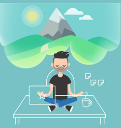 dealing with stress young character meditating in vector image