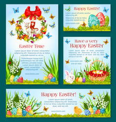 easter holiday greetings banner template design vector image vector image