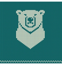 Knitted pattern with polar bear vector image vector image