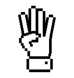 outline pixelated hand with four fingers symbol vector image