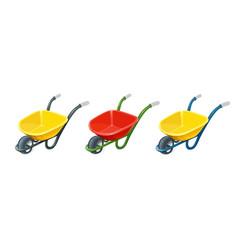 wheelbarrow gardening tools vector image vector image