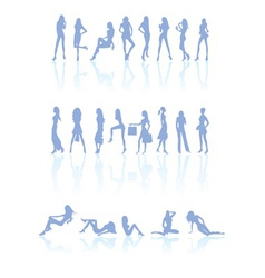differen kind of women silhouette vector image