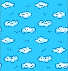 Drawn seamless pattern with clouds and birds vector image vector image