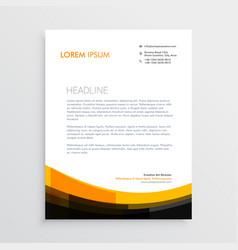 elegant orange black letterhead design vector image vector image