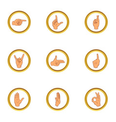 gesturing icons set cartoon style vector image