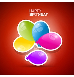 Happy Birthday theme colorful air balls on red vector image