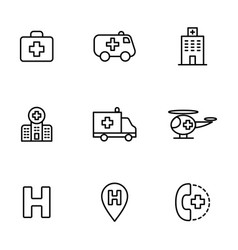 Hospital icons set on white background vector