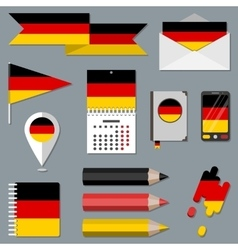 Set of icons with flag elements Germany vector image