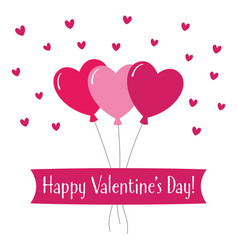 valentines day greeting card with hearts balloons vector image vector image