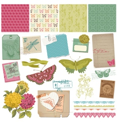 Vintage Butteflies and Flowers vector image vector image