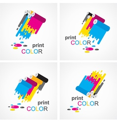 cmyk print colored roll element set vector image vector image