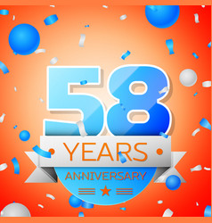 Fifty eight years anniversary celebration vector