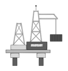 Oil offshore platform icon gray monochrome style vector image vector image