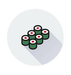 sushi icon on round background vector image