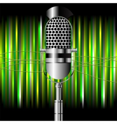 vintage microphone over stripes vector image vector image