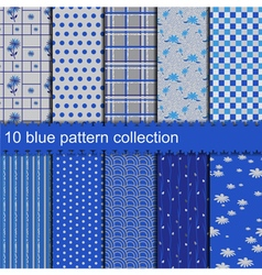 10 blue pattern collection vector image