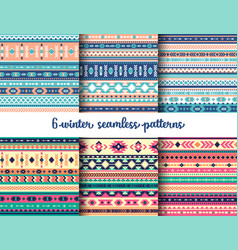6 winter tribal seamless patterns set vector image