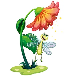 A dragonfly flying under the flower vector