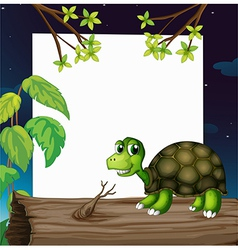 A turtle above the wood with an empty board at the vector