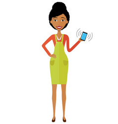 african american woman with mobile phone vector image