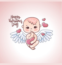 Angel baby with heart in hands on a white vector