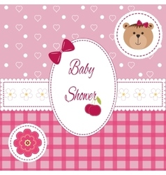 Baby girl arrival shower Greeting announcement vector image
