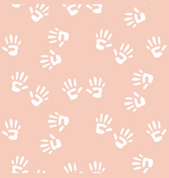 baby handprints seamless pattern for girls vector image