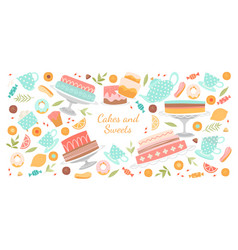 banner with cakes cookies and other pastries vector image