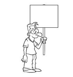 Black and white happy man with protest sign vector image