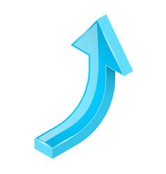 blue arrow 3d shiny upwards sign vector image