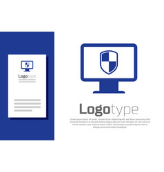 Blue monitor and shield icon isolated on white vector