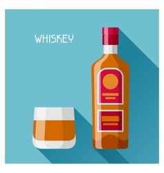 Bottle and glass of whiskey in flat design style vector