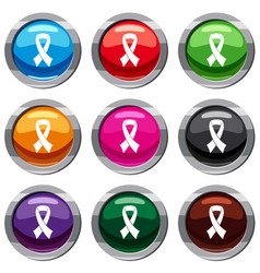 breast cancer awareness ribbon set 9 collection vector image