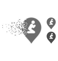 broken pixel halftone prayer map marker icon vector image