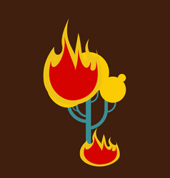 burning forest tree in fire flames - natural vector image