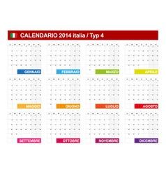 Calendar 2014 Italy Type 4 vector image