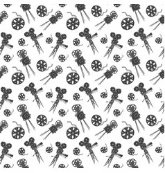 Camera and film reel vintage seamless pattern vector