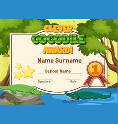 Certificate template for clever crocodile award vector