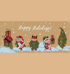christmas cards year bull 2021 craft paper vector image