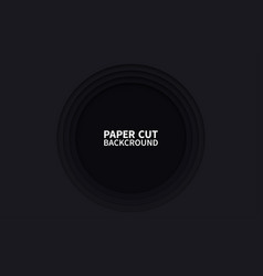 circle paper cut background wavy black layers vector image