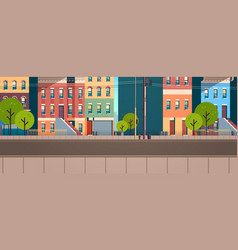 City building houses view summer street green vector