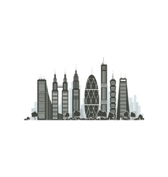 City Financial Center Isolated on White vector image