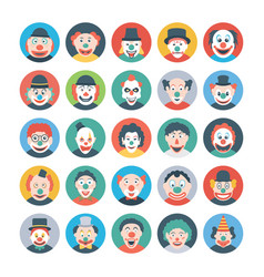 Clown faces flat icons vector