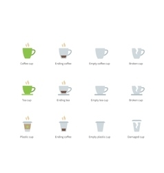Coffee cup color icons on white background vector image