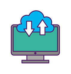 Computer desktop with cloud computing vector