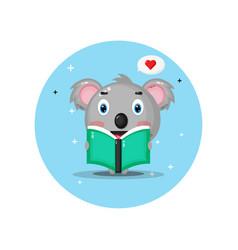 Cute cat koala is reading a book vector
