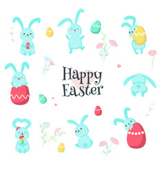 cute easter rabbits with eggs isolated vector image